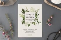wedding photo - Woodland Wedding Invitation Set,Printable Forest Wedding Suite,Nature Wedding,Outdoor Wedding Invites,Green Leaves,Garden Wedding, Light