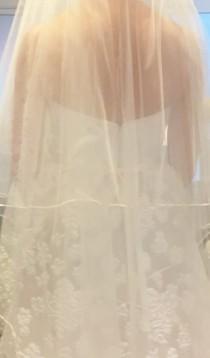 wedding photo - Wedding Veil, SATIN Edge Veil, Infinity Veil, 2 Layer Veil, 1/8 Satin Ribbon Edge Veil, Waltz Calf/Ankle Length Veil