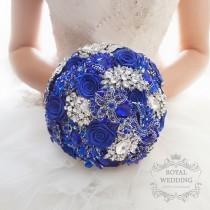 wedding photo - Royal Blue Brooch Bouquet Bridal bouquet Wedding Bouquet Bridesmaids Bouquet Jewelry Bouquet Blue and Silver and Blue Bouquet Custom Bouquet
