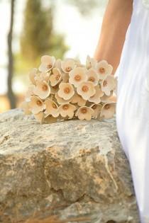 wedding photo - Neutral Cream Bridal Bouquet, Ceramic Bridal Flowers, Vintage-Style, Long Stem, Gold Ribbon, Alternative Beach Wedding, Big Flower Bunch