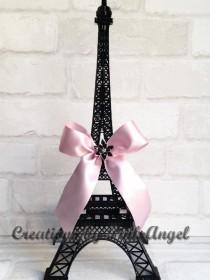 wedding photo - 15 inch Black Eiffel Tower Centerpiece, Black and Pink Paris Centerpiece, Paris Wedding Bridal Shower or Baby Shower, 1 Tower included