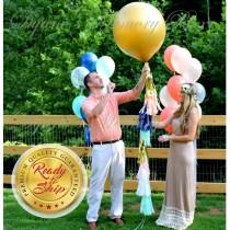 "wedding photo - GOLD Baby Gender Reveal Balloon / 36"" Gold Confetti Filled Balloon with Tassel Tail  / It's a Boy / It's a Girl / Boho Party Decor"