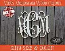 wedding photo - Vines Wood Monogram Initials cutout - wedding photo prop vintage shabby chic cottage decor DIY wooden cut out scrollwork