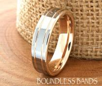 wedding photo - Rose Gold Wedding Band Ring 6mm 18K Two Tone Man Wedding Band Male Women Custom Laser Engraving Anniversary Handmade Double Grooved New Mens