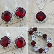 wedding photo - Red Jewelry Set Crystal Bracelet Necklace Earring Set Swarovski Crystal Mother of Bride Gift Maid Of Honor Also Avail As Clip On Earrings