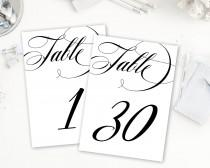 wedding photo - Calligraphy Table Numbers, Table Numbers Printable, Numbers 1-30, Reception Table Numbers, Wedding Table Numbers, 5x7, Banquet Table Numbers