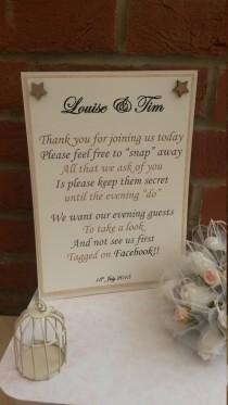 wedding photo - A4 Personalised Photograph Not on Facebook  Wedding Vintage style sign - ANY colour butterflies or embellishment