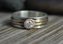 wedding photo - Moissanite Sterling silver 14k yellow gold ring  diamond 6mm wide alternative unique ring Ready to ship size 7