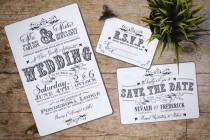 wedding photo - Vintage Wedding Invitation Set, Rustic, western; Downloadable; Custom; PDF