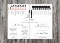 wedding photo - Wedding Programs Silhouette, wedding program, order of ceremony, silhouette program, wedding ceremony program, printable wedding program