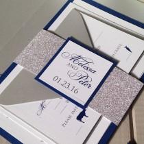 wedding photo - Glitter Wedding Invitations, Navy and Silver Wedding Invitations, Winter Wedding Invitations, Navy & Silver Shimmer Wedding Invitations