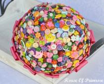 wedding photo - Quirky/vintage/retro, bright button bouquet with hot pink ribbon