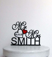 wedding photo - Wedding Cake Topper,Mr and Mrs Cake Topper With last name,Heart Topper,Custom Cake Topper,Personalized Cake Topper,Rustic Cake Topper