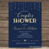 wedding photo - Couples Wedding Shower invitation Navy and gold, printable, modern chic shower, digital invite customizable _1229couples
