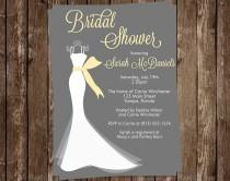 wedding photo - Bridal Shower Invitations, Wedding Dress, Yellow, Gray, White Gown, Set of 10 Printed Cards, FREE Shipping, ELGGR, Elegant Gown Gray Yellow