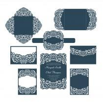 wedding photo - Set Laser cut Wedding Invitation Templates Card / Envelope/ Belly Band / RSVP / Four fold card. SVG cutting files, Silhouette Cameo, Cricut