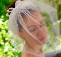 wedding photo - Tulle Birdcage Veil, Bridal Veil, Blusher Veil, Wedding Birdcage Veil