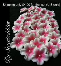 wedding photo - Cake Decorations White Gumpaste Blossoms with Deep Pink
