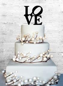 "wedding photo - Love 4"" Wedding Cake topper Monogram cake topper Personalized Cake topper Acrylic Cake Topper"