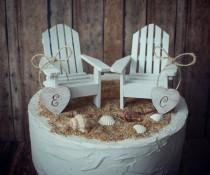 wedding photo - Adirondack beach wedding chairs-miniature Adirondack chairs-wedding cake topper-beach chairs-beach wedding-destination wedding-beach-custom