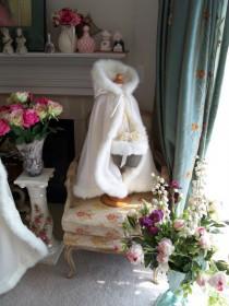 wedding photo - Little Princess Flowergirl Cape 24/26 inch Ivory / IvorySatin Wedding Cloak  for young Children Handmade in USA