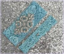 wedding photo - Wedding Garter Set - TURQUOISE Lace SILVER Rhinestone Crest Show & Dual Stud Toss - other colors available