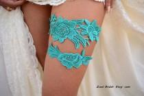 wedding photo - Teal Green Garter, Wedding Garter, Teal Wedding Garter, Wedding Garter Set, Green Garter, Wedding Garter Teal, Teal Garters, Lace Garters
