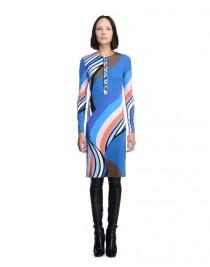 wedding photo - Emilio Pucci Blue Onyx Print Long Sleeve Short Dress