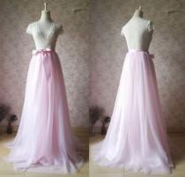 wedding photo - Women PINK Maxi Skirt, Pink Bridesmaid Skirt, Pink Full Maxi Tulle Skirt, Baby Pink Tutus Pink Wedding, 2017 Custom Long Cocktail Skirt-WD47