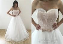 wedding photo - wedding dress, Blossom wedding dress, A style wedding dress, champagne wedding dress, simple wedding dress, wedding gown, capucino dress