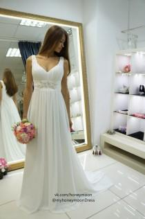 wedding photo - Nessa wedding dress,  empire wedding dress, simply wedding dress, chiffon wedding dress, V neck line wedding dress, straps wedding dress