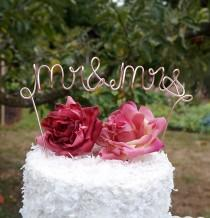 wedding photo - Mr Mrs Metal Cake Topper, Rose Gold & More, 8 Inches, Pick Your Stem Length