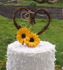 wedding photo - Sunflower Wedding Decor Rustic Cake Topper