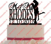 wedding photo - Custom Mr&Mrs Wedding Cake Topper Monogram Silhouette Personalized With Your Last Name, date, choice of color, FREE base for display