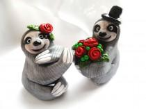 wedding photo - Sloth Wedding Cake Topper - Choose Your Colors - Wedding Cake Topper Polymer Clay Figurines -  CUSTOMIZED for You with your own colors