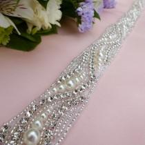 wedding photo - pearl sash belt, pearl and rhinestone belt, wedding sash belt, bridal sash belt, beaded sash belt, jeweled belt, beaded belt, wedding belt