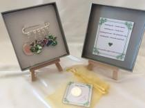 wedding photo - Irish bridal garter charm pin, wedding gift. Something old, something new something borrowed something blue & a silver sixpence for her shoe