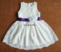wedding photo - Off White Lace Girls Dress, Flower Girl Dress, Lace Girl Dress, Rustic Lace Girl Dress, Ivory Lace Girl Dress, Junior Bridesmaid dress