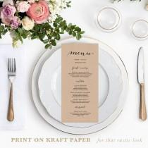 wedding photo - Rustic Printable Wedding Menu Template, 4x9 Wedding Menu Cards, Editable Text, Calligraphy Menu Cards, DIY Wedding Templates, 002