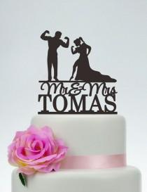 wedding photo - Muscle Man And Woman Silhouette,Wedding Cake Topper,Custom Cake Topper, Mr And Mrs Cake Topper,Bodybuilding Topper, Funny Topper C133