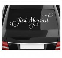 wedding photo - Just Married Decal Vinyl Decal Wedding Decal Wedding Decor Just Married Car Vinyl Decal Removable Decal Vinyl Decal Wedding Decal Fancy