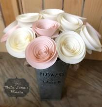 wedding photo - Stemmed Paper Flowers - Table Centerpieces - Flower Centerpiece - Paper Home Decor - Shower Flowers - Blush Pink Flowers - Cream - White