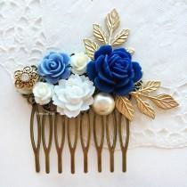 wedding photo - Wedding Comb Navy Blue White Bridal Hair Accessories Gold Leaves Pearl Floral Hair Slide Elegant Romantic Hair Clip Rustic Headpiece