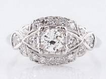 wedding photo - Antique Engagement Ring Art Deco .33 Old European Cut Diamonds in Platinum
