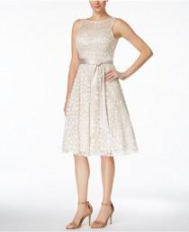 wedding photo - Jessica Howard Illusion Floral-Applique Fit & Flare Dress
