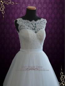 wedding photo - Lace Ball Gown Wedding Dress With Illusion Boat Neckline
