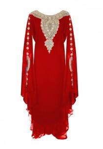 wedding photo - Red Gold Embellished Kaftan Dress - Jywal
