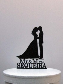 wedding photo - Personalized Wedding Cake Topper - Bride and Groom Silhouette 2 with Mr & Mrs name