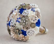 wedding photo - Brooch bouquet, Wedding Bouquet, Bridal Bouquet, Ivory Champagne and Royal Blue bouquet, Jewelry Bouquet. Quinceanera Keepsake Bouquet