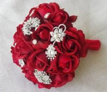 wedding photo - Red Silk Brooch Wedding Bouquet - Natural Touch Roses and Brooch Christmas Jewel Bride Bouquet - Rhinestones